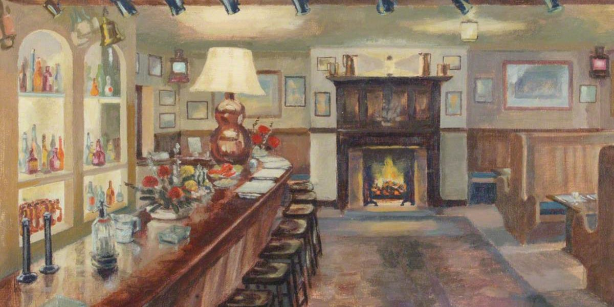 unknown artist; The 'Nut' Bar at the Keppel's Head Hotel, Portsmouth, c.1955; Portsmouth Museums and Visitor Services; https://www.artuk.org/artworks/the-nut-bar-at-the-keppels-head-hotel-portsmouth-c-1955-24678